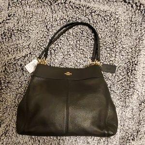 Coach Black Leather Lexy Shoulder Bag Med-Large